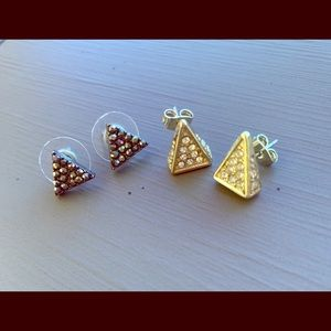 Two pair small triangle earrings